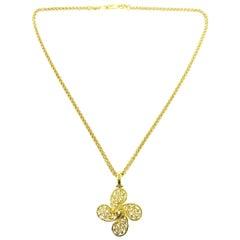 Chanel Gold Pinwheel Charm CC Evening Drop Link Pendant Chain Necklace