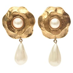 Chanel Gold Plated and Faux Pearl Flower Dangle Clip On Earrings