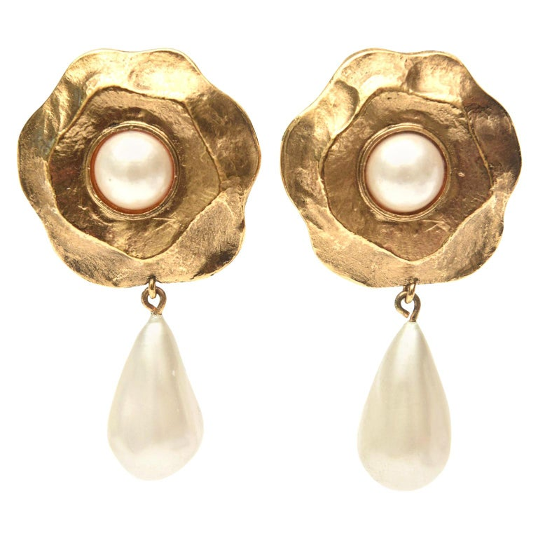 Chanel Gold Plated and Faux Pearl Flower Dangle Clip On Earrings For Sale