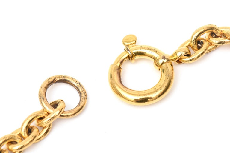 Chanel Gold Plated CC Logo Medallion Chain Necklace For Sale 1