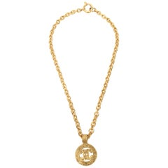 Chanel Gold Plated CC Logo Medallion Chain Necklace