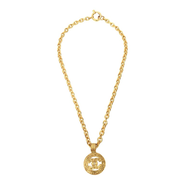 Chanel Gold Plated CC Logo Medallion Chain Necklace For Sale