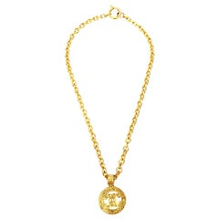 Chanel Gold Plated CC Logo Medallion Chain Necklace Vintage