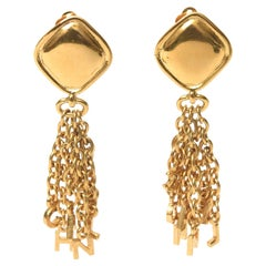 Chanel Gold Plated Charm Dangle Clip On Earrings Vintage