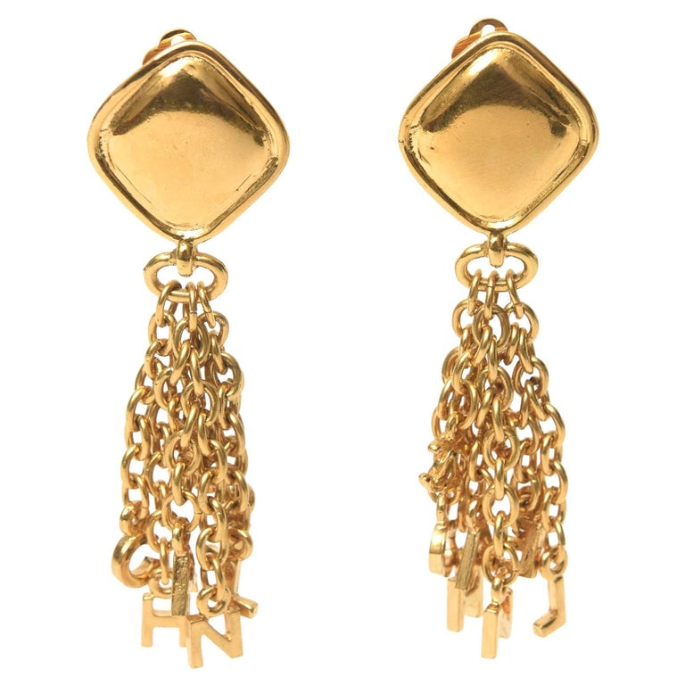 Chanel Gold Plated Charm Dangle Clip On Earrings Vintage For Sale