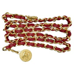 CHANEL Gold Plated Red Leather Chain Belt Necklace