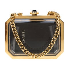 Chanel Gold Premiere Plexiglass Minaudiere Clutch Bag