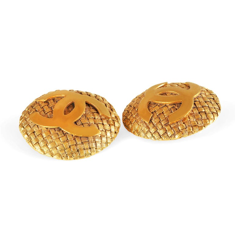 Women's Chanel Gold Quilted CC Button Earrings For Sale