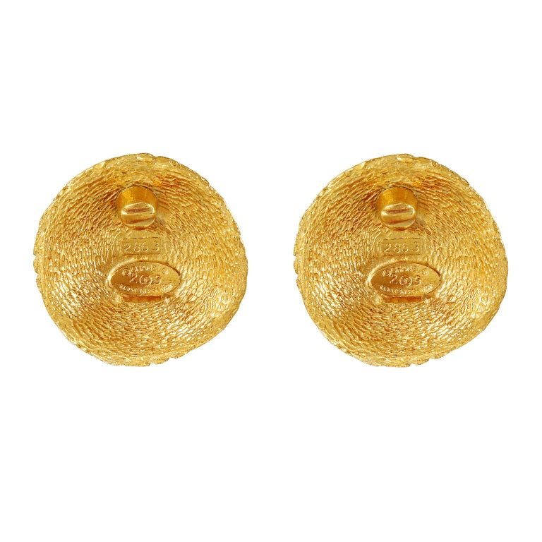 Chanel Gold Quilted CC Button Earrings For Sale 1
