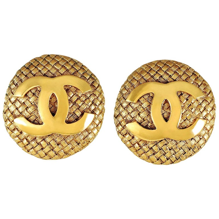 Chanel Gold Quilted CC Button Earrings For Sale