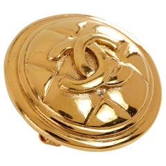 Chanel Gold Quilted CC Button Pin