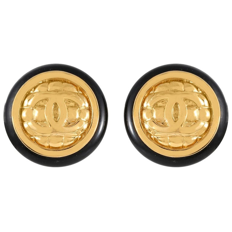 Chanel Gold Quilted CC Earrings For Sale