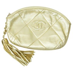 Chanel Gold Quilted Evening Clutch w/ Tassel- Circa 89