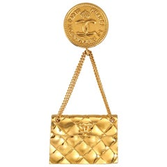 Chanel Gold Quilted Flap Bag Vintage Pin