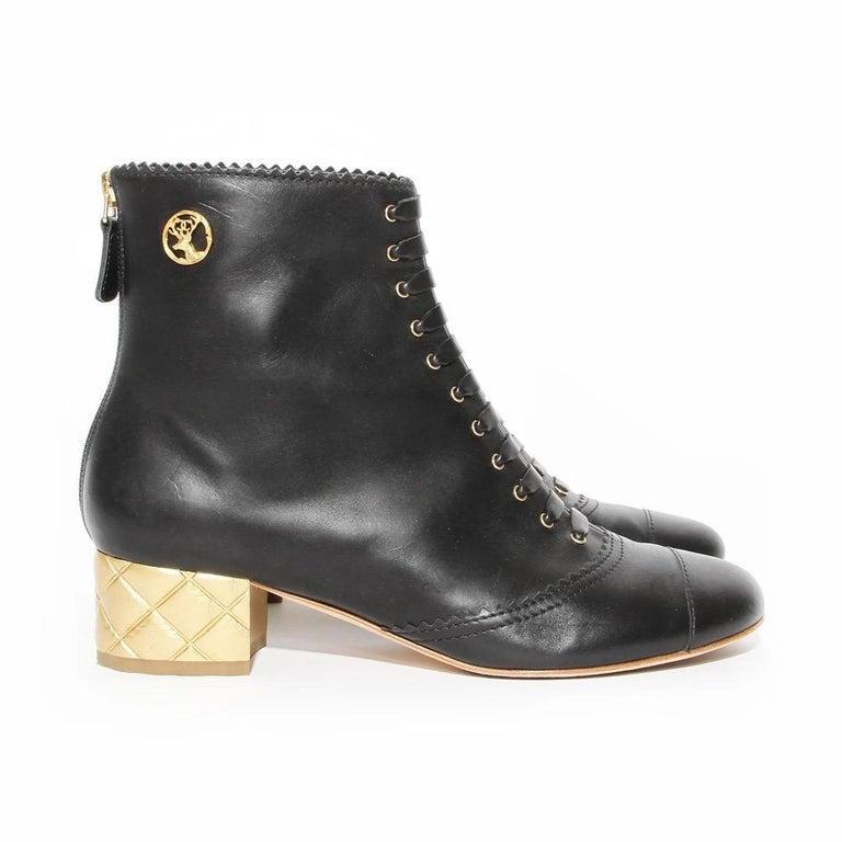 Black Chanel Gold Quilted Heel Bootie For Sale