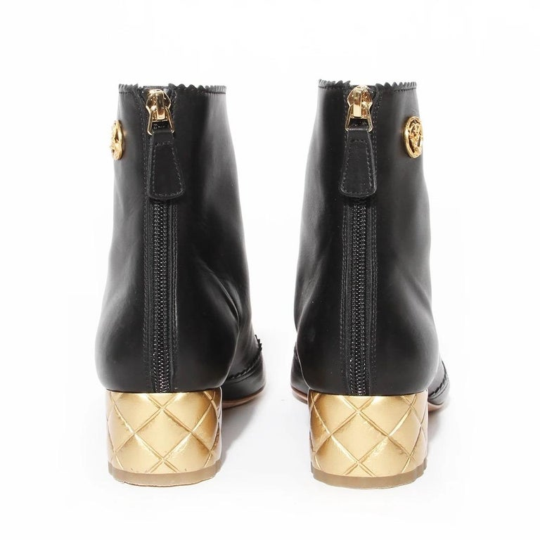 Chanel Gold Quilted Heel Bootie In Good Condition For Sale In Los Angeles, CA