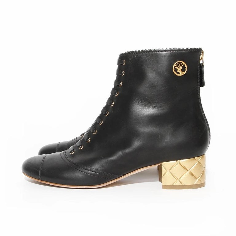 Women's Chanel Gold Quilted Heel Bootie For Sale