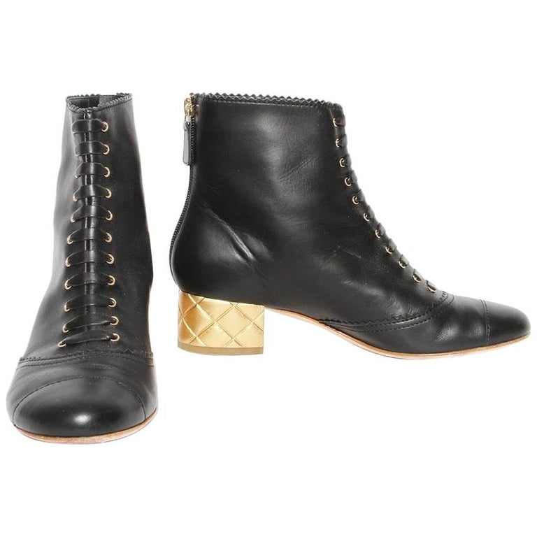 Chanel Gold Quilted Heel Bootie For Sale