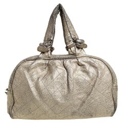 Chanel Gold Quilted Leather Boston Bag