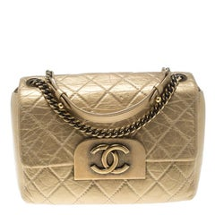 Chanel Gold Quilted Leather CC Square Flap Bag