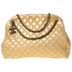 Chanel Gold Quilted Leather Large Just Mademoiselle Bowler Bag