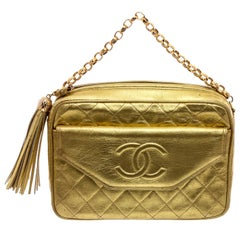 Chanel Gold Quilted Leather Vintage Camera Bag