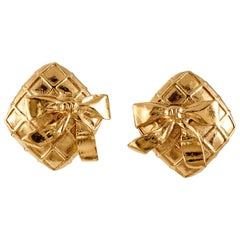 Chanel Gold Quilted Square Bow Clip On Earrings