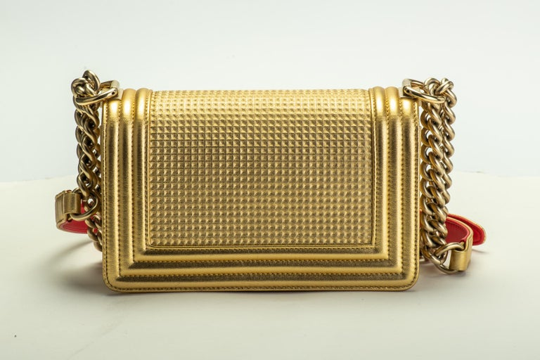 Brown Chanel Gold & Red Leather Boy Bag For Sale