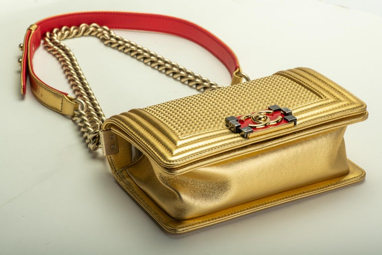 Chanel Gold & Red Leather Boy Bag In Excellent Condition For Sale In West Hollywood, CA