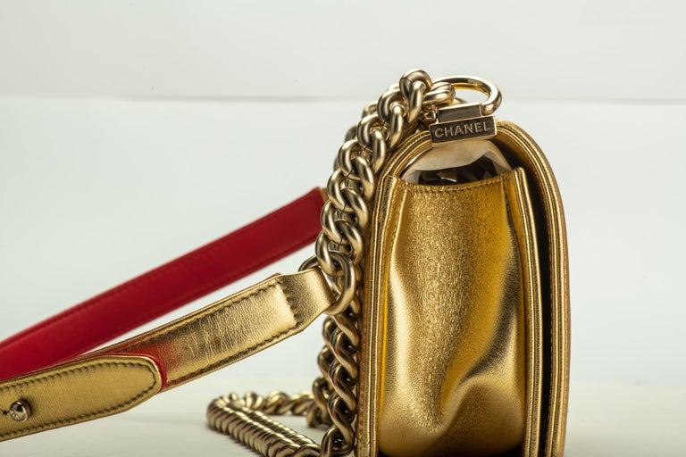 Chanel Gold & Red Leather Boy Bag For Sale 1