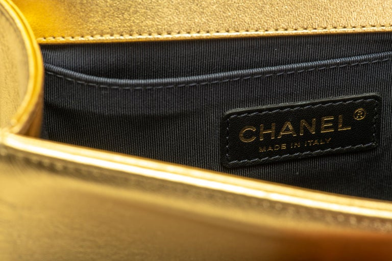 Chanel Gold & Red Leather Boy Bag For Sale 3