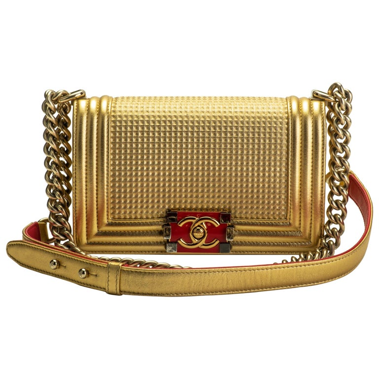 Chanel Gold & Red Leather Boy Bag For Sale