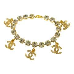 Chanel Gold Rhinestone Logo Charms Evening Chain Link Bracelet