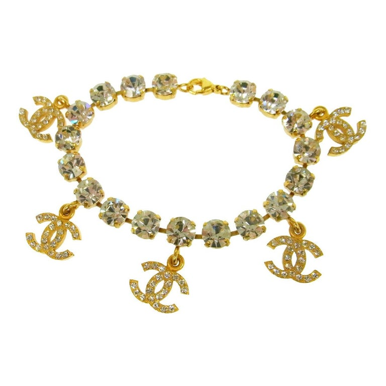 Chanel Gold Rhinestone Logo Charms Evening Chain Link Bracelet For Sale