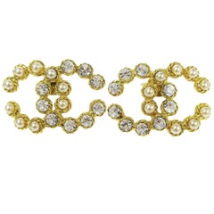 Chanel Gold Rhinestone Pearl Charm Evening Stud Statement Earrings in Box