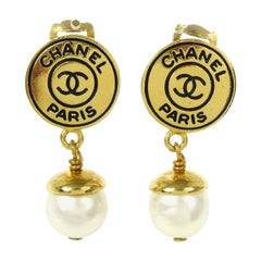 Chanel Gold Round Coin Logo Charm CC Pearl Dangle Drop Evening Earrings