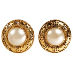 Chanel Gold Round Pearl Clip On Earrings