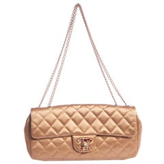 Chanel Gold Silk Evening Bag Jewel Clasp