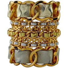 CHANEL Gold Silver Leather Chain Cuff Bracelet