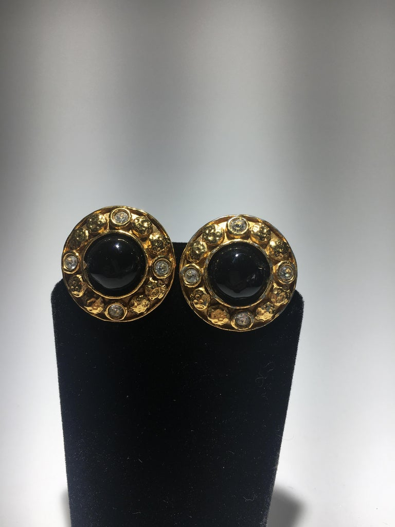 Chanel Gripoix And Gold Stud Evening Earrings.  Center Onyx Gripoix Surrounded By Cut Crystals.