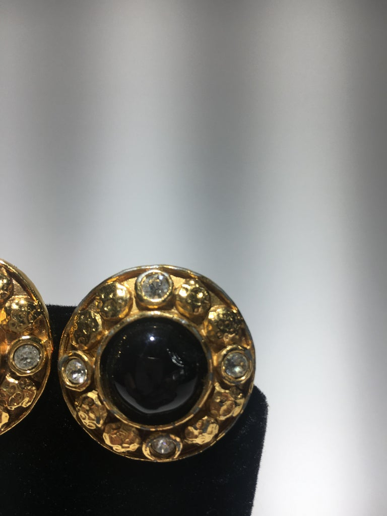 Classical Roman Chanel Gripoix And Gold Stud Earrings.  Center Onyx Surrounded By Cut Crystals.