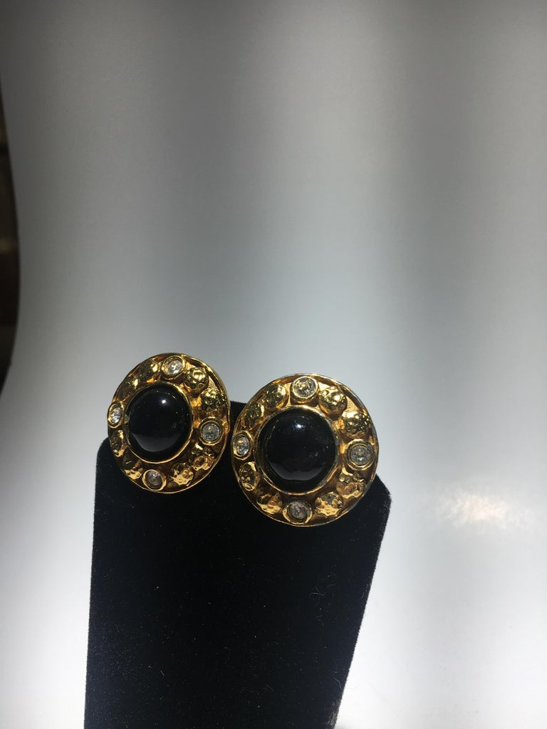 Cabochon Chanel Gripoix And Gold Stud Earrings.  Center Onyx Surrounded By Cut Crystals.