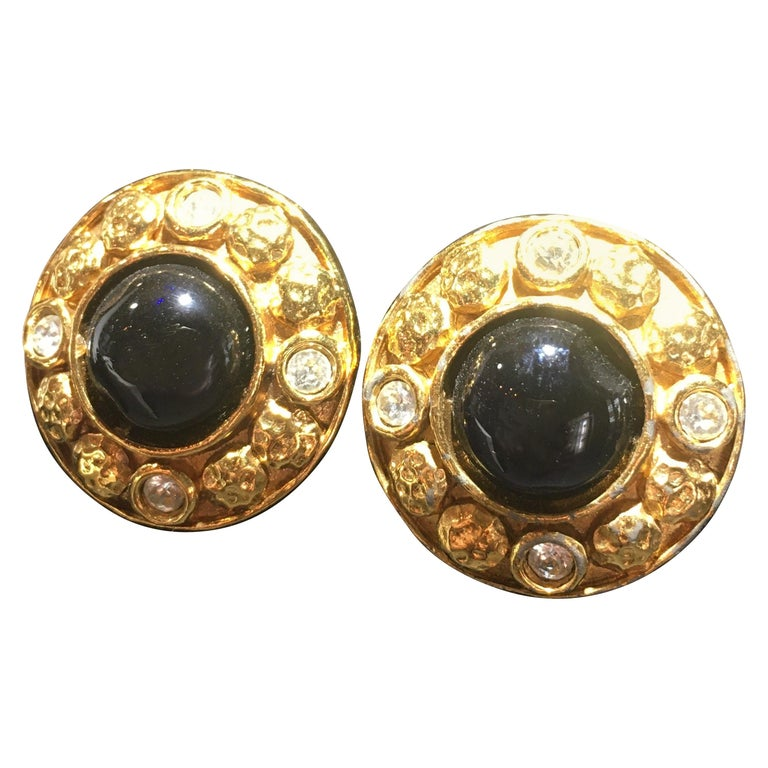 Chanel Gripoix And Gold Stud Earrings.  Center Onyx Surrounded By Cut Crystals.