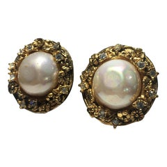 Chanel Gold Stud Evening Earrings.  Faux Mabe Pearl Surrounded By Cut Crystals.