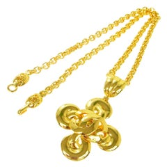 Chanel Gold Swirl Cross Charm CC Evening Drop Drop Chain Necklace