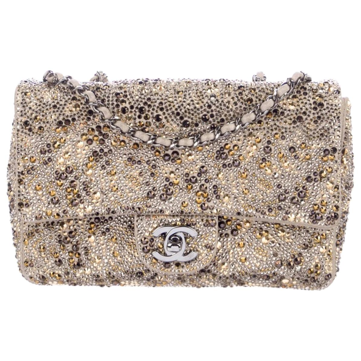 Chanel Gold Tan Silver Bronze Crystal Leather Small Evening Shoulder Flap Bag