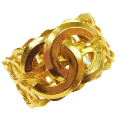 Chanel Gold Textured Charm Statement  Evening Wide Double Cuff Bracelet