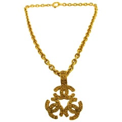 Chanel Gold Textured Charm Three CC Link Evening Drop Pendant Chain Necklace