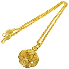 Chanel Gold Textured Crest Charm CC Evening Drop Drop Chain Necklace