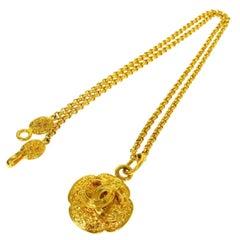 Chanel Gold Textured Crest Charm CC Evening Drop Link Pendant Chain Necklace